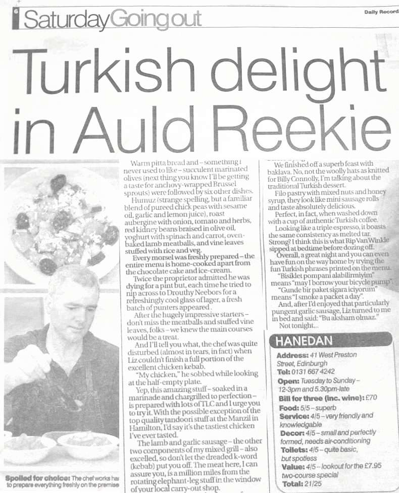 Daily Record Review of Hanedan Turkish Restaurant in Edinburgh